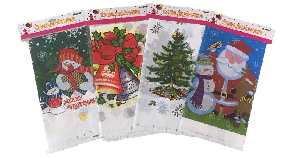 Disposable Plastic Tablecloths Exquisite Christmas Tablecloths Premium Plastic Rectangle Party Tablecloths 4-Pack