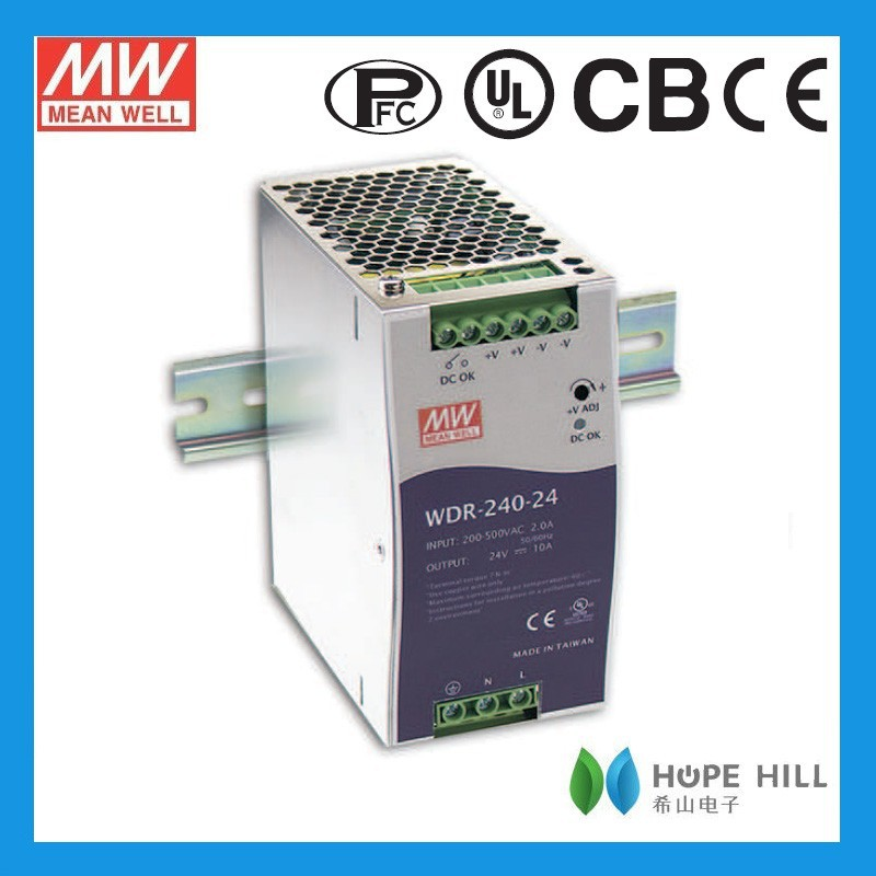 Original Meanwell WDR-240-48 240W Single Output Industrial DIN RAIL with PFC Function