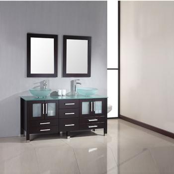 Muebles Bano Lavabo Cristal.Fregadero Doble Espejo De Madera Maciza Bano Vanidad Con Encimera De Cristal Y Lavabo Buy Espejo Mueble De Bano Vanidad Lavabo Doble Bano Espejo