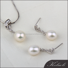 Beauty 925 sterling silver pearl pendant and earring moti jewelry set
