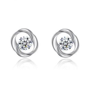 European And American Style Modern Fantasy Zircon White Gold Earrings