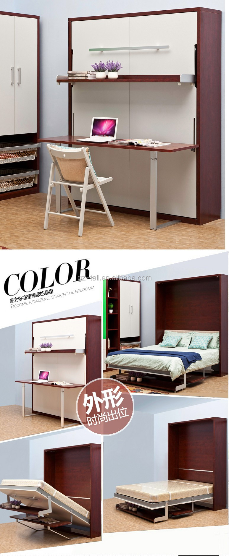 Luxury portable folding bed hidden bed cabinet book and computer ...