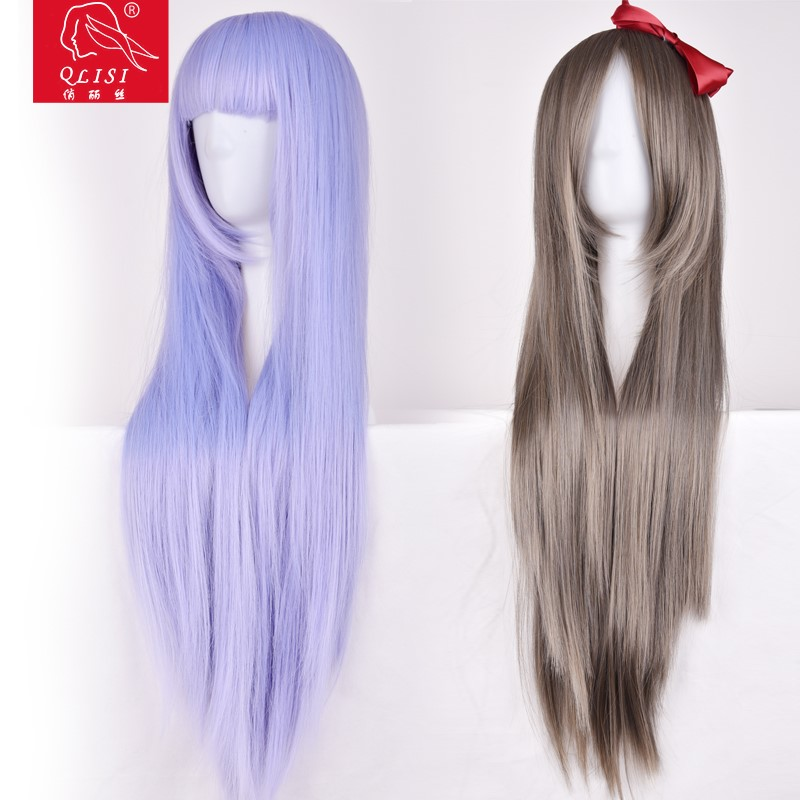 synthetic cosplay long blue wig