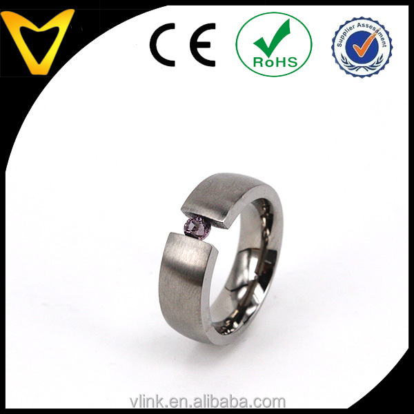 Elegant Womens Ladies Titanium Finger Ring With Purple Zirconia Inlaid, Titanium 4mm Tension Set CZ Band Wedding Engagement Ring