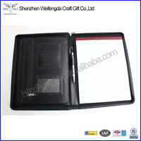 Custom black A4 conference folder zipped padfolio high quality office supplies