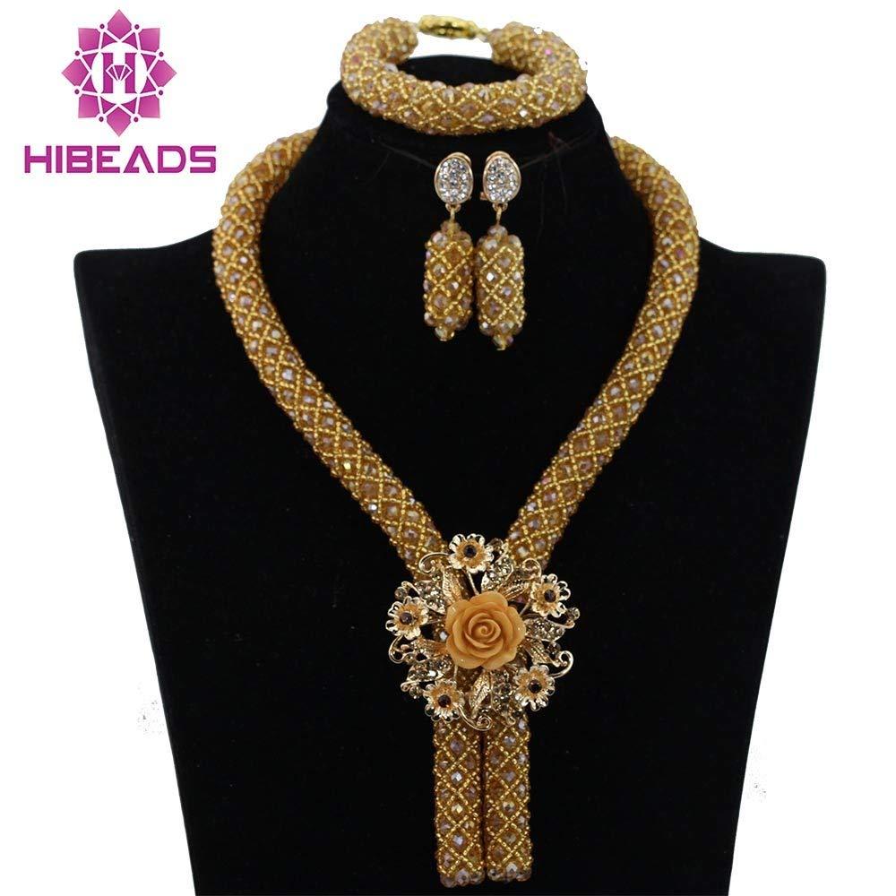 Gold Costume Jewelry Set Nigerian Wedding African Beads Set Crystal Braid Pendant Necklace Set
