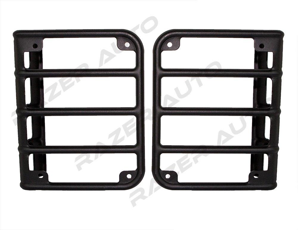 Razer Auto 07-16 Jeep JK Wrangler Rubicon Textured Black Metal Euro Tail Light Taillight Lamp Guards Cover