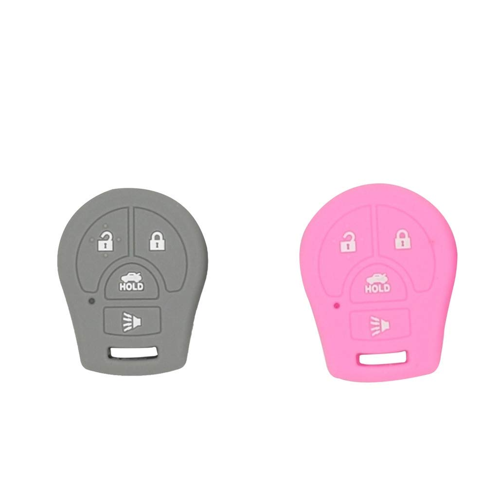 Baosity 2X Silicone Remote Keyless Car Key Fob Cover Protector for Nissan Pink Gray