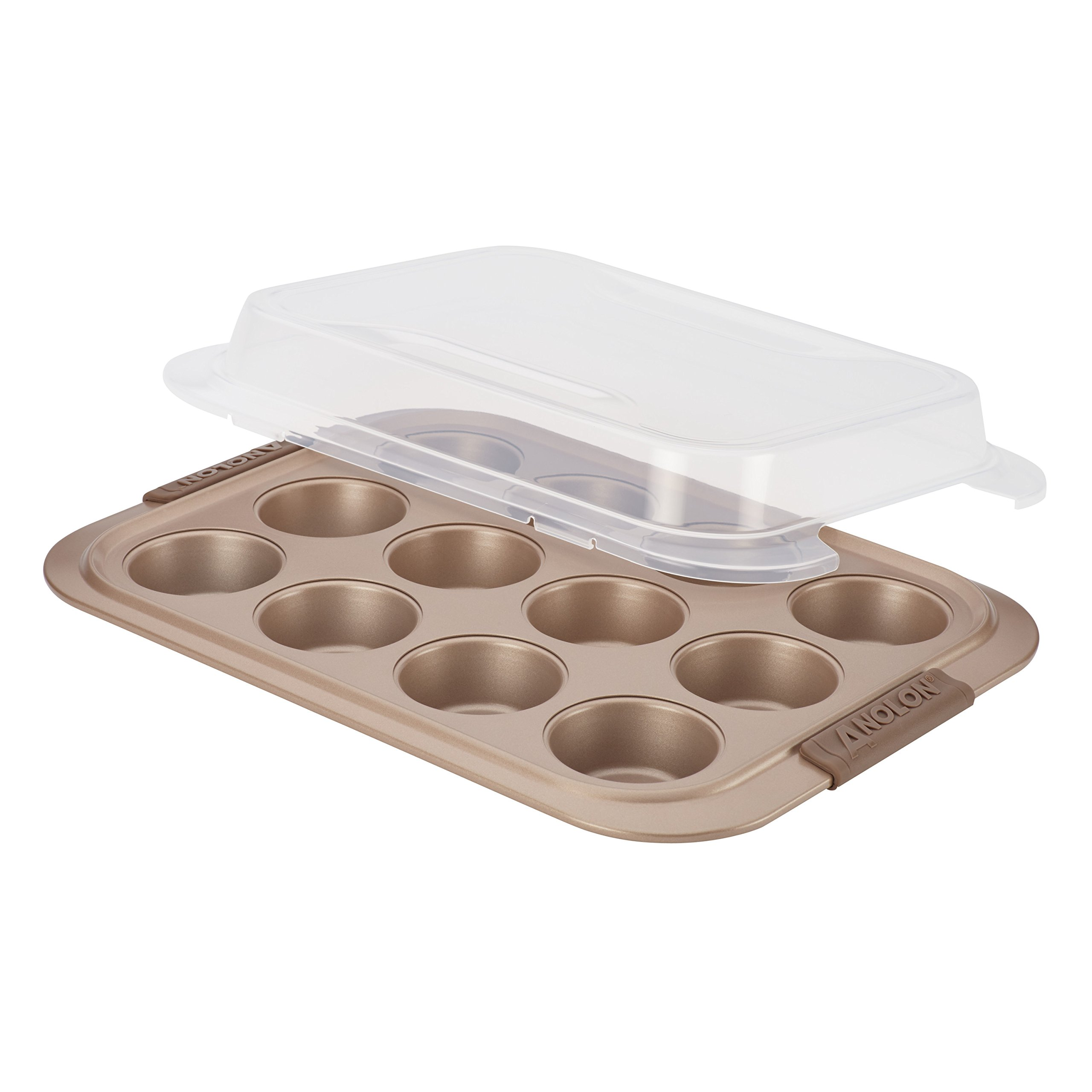 Anolon 12 Cup Advanced Bronze Nonstick Bakeware Muffin Pan with Silicone Grips, Brown