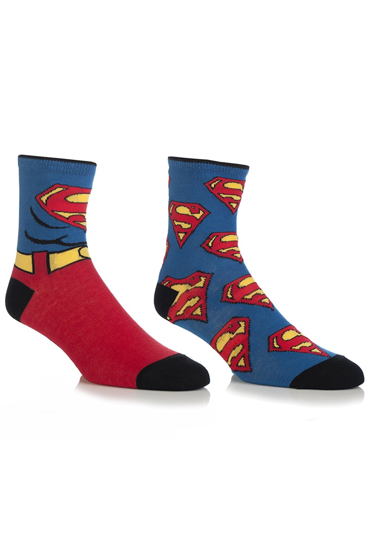 0fad0c1a8c69 Get Quotations · SockShop Men's 2 Pair DC Comics Mix Superman Socks 7-12  Multicolored