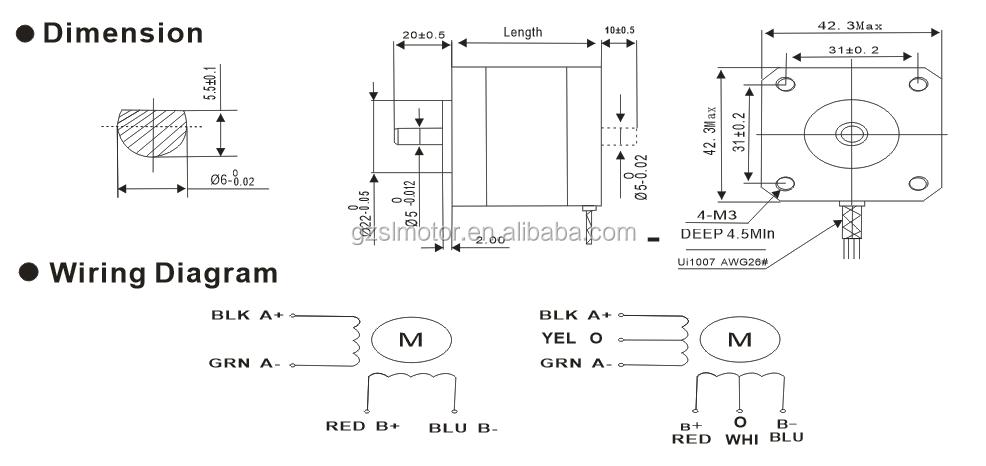 Nema stepper motor dimensions reference chart for Nema 42 stepper motor datasheet