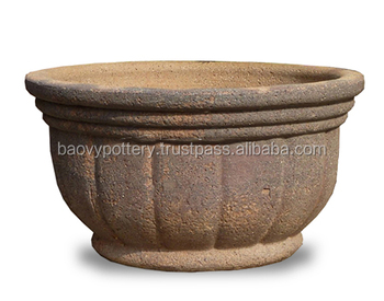 pl shop w x com clay planter at lowes planters h antique brown in