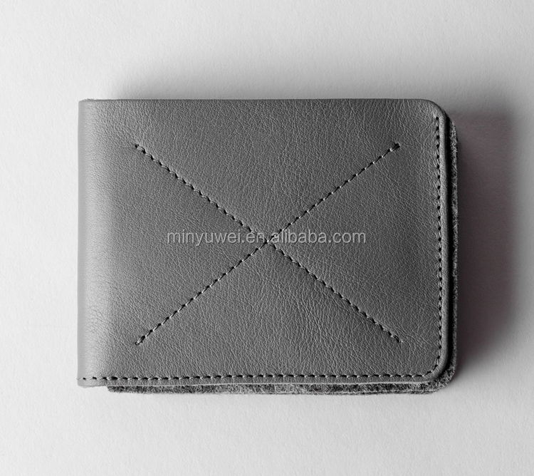 2018 hand-crafted Classic bi-fold gray genuine leather wallet men leather accessories hot