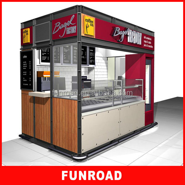 High quality commercial indoor mall wood fast food kiosk for Indoor food kiosk design