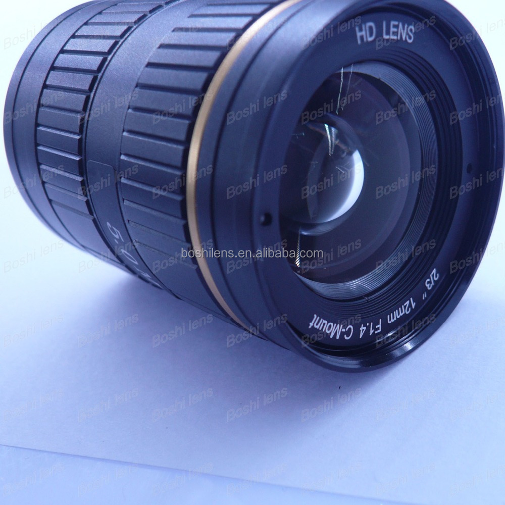 "2/3"" 5MEGA 12mm C mount F1.4 Fixed focus Manual iris lens for cctv or ITS"