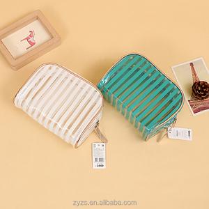 Custom design makeup cosmetic pouch PVC biodegradable plastic zipper case bag