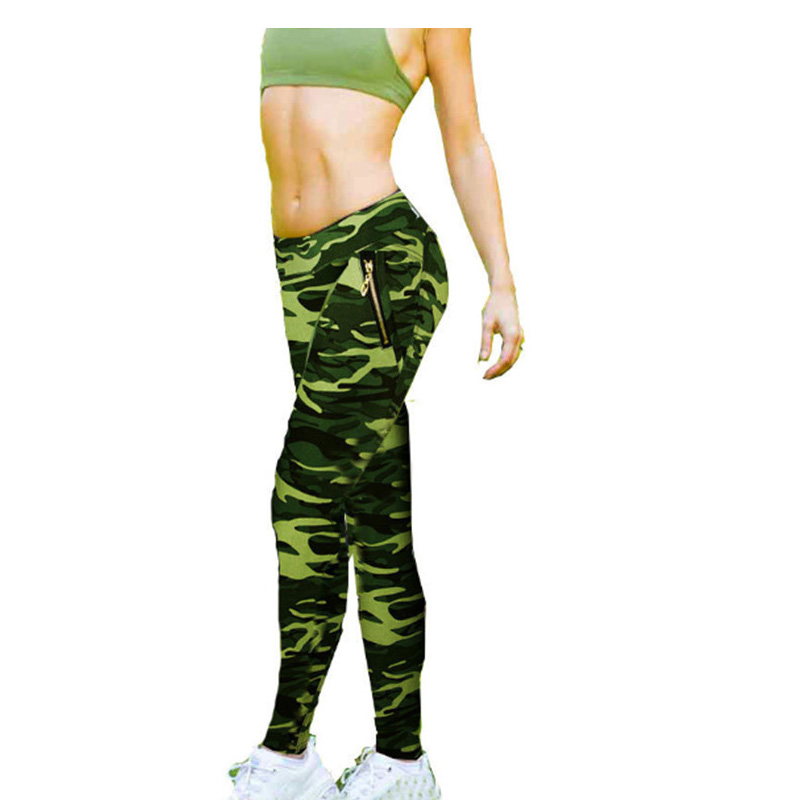 High waist Camouflage pattern with zipper design cool jacquaed camouflage color tight leggings