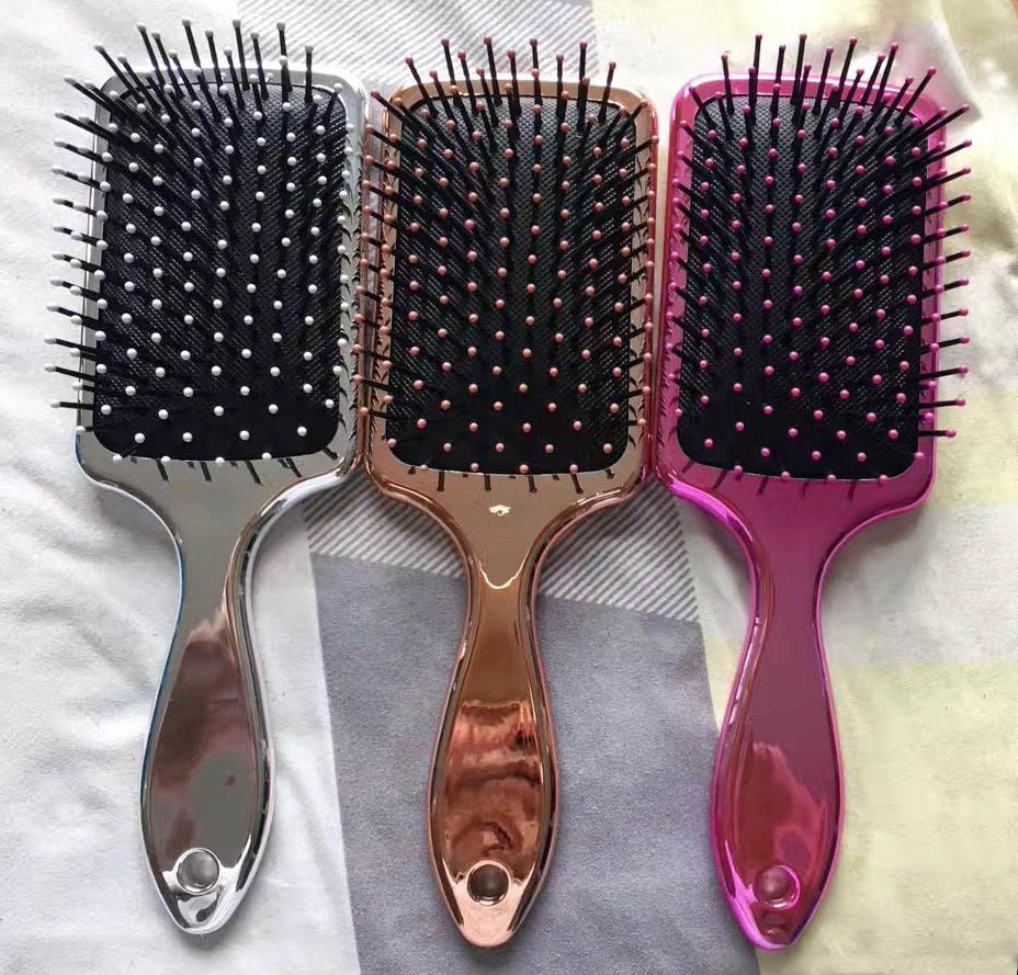 2017 new improved Professional Rainbow Metallic paddle cushion Salon Hair Brushes