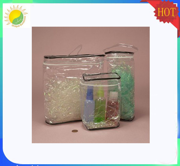 handled heat sealing clear transparent PVC bag cosmetic pack bag