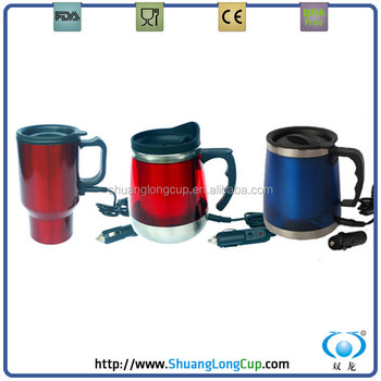 12v Red Stainless Steel Heated Coffee Mug Self Heating Cup Usb