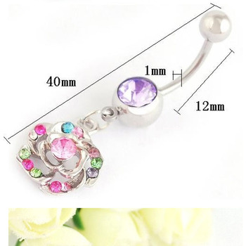 Stainless Steel Flower Crystal Belly Ring Navel Ring Bar Body Piercing Buy Slave Rings Body Jewelry Vibrating Body Jewelry Double Gem Crystal Navel