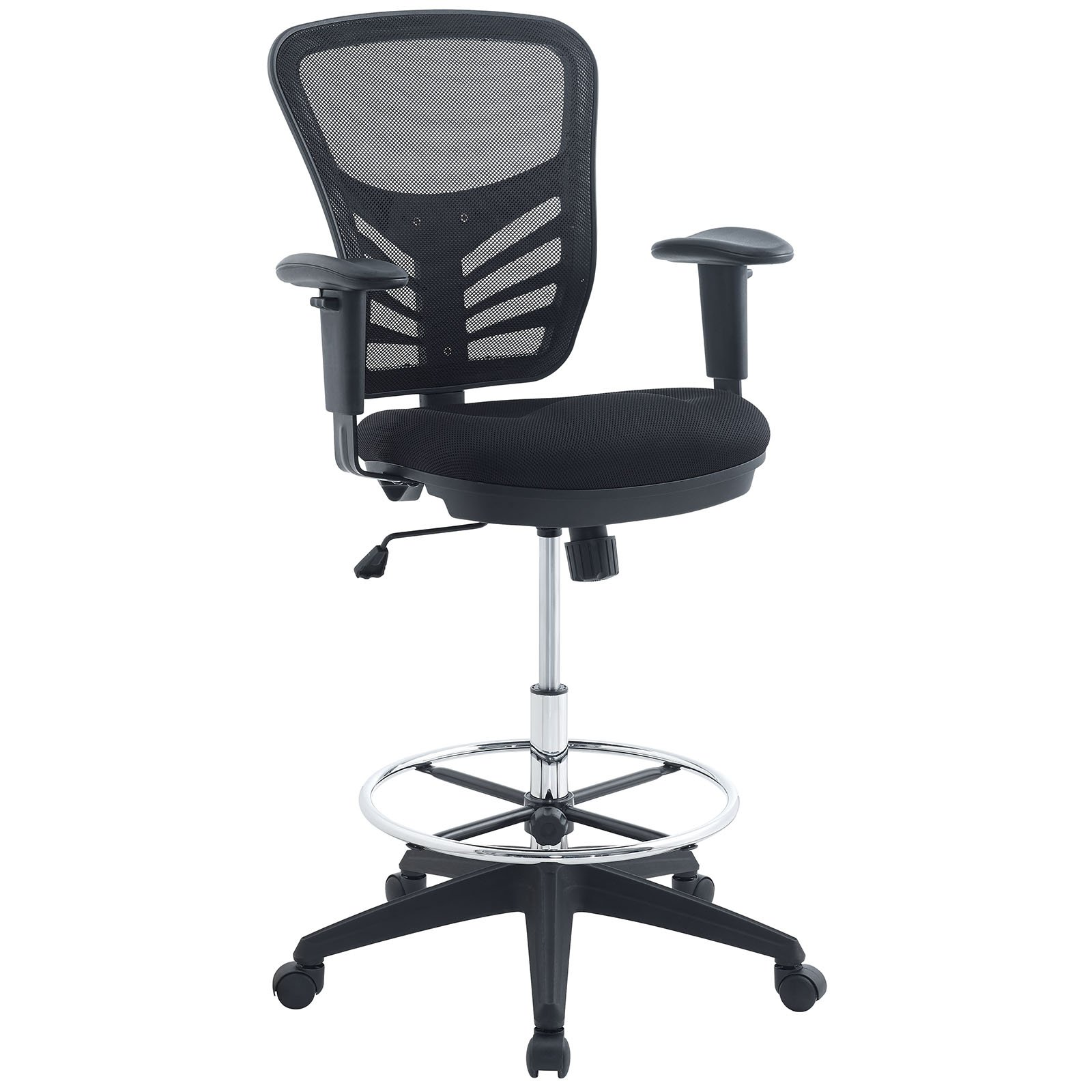 Modway Articulate Drafting Chair in Black - Reception Desk Chair - Tall Office Chair for Adjustable Standing Desks - Drafting Table Chair