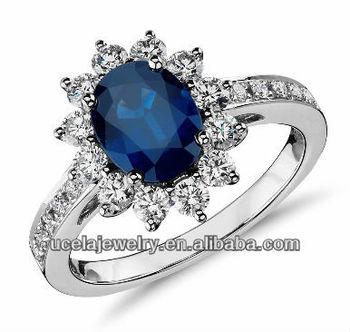 Дешевые ювелирные изделия онлайн Овальный Сапфир и бриллиант кольцо в 18 К  Белое золото (8x6 248632fff29