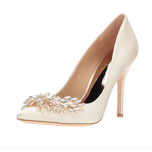 White color satin material women high heels bridal wedding shoes