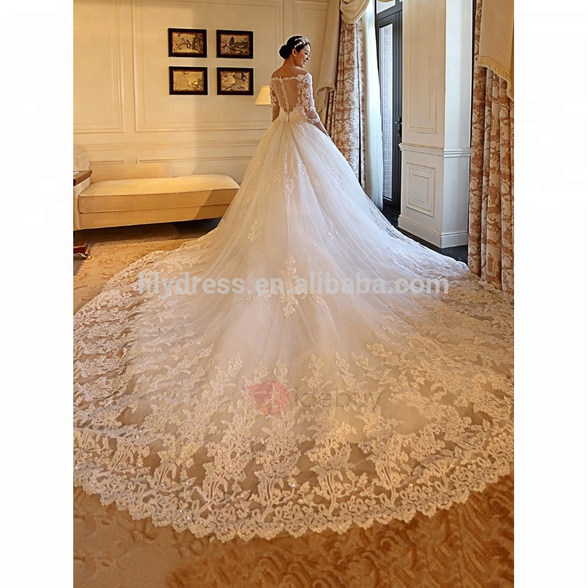 China Suzhou Dijual Casamento Bridal Gown 2017 Lengan Panjang Pengantin Pola Bola Gaun MM-0588 Lace Wedding Dresses
