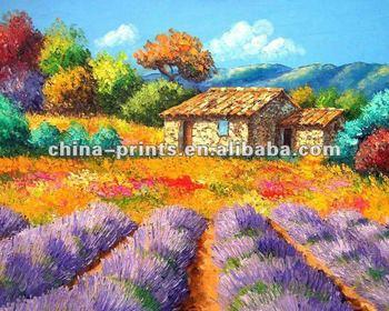 Beautiful Village Scenery Oil Painting