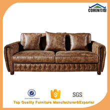 retro country feel 3 seater super soft sectional sofa with high density foam