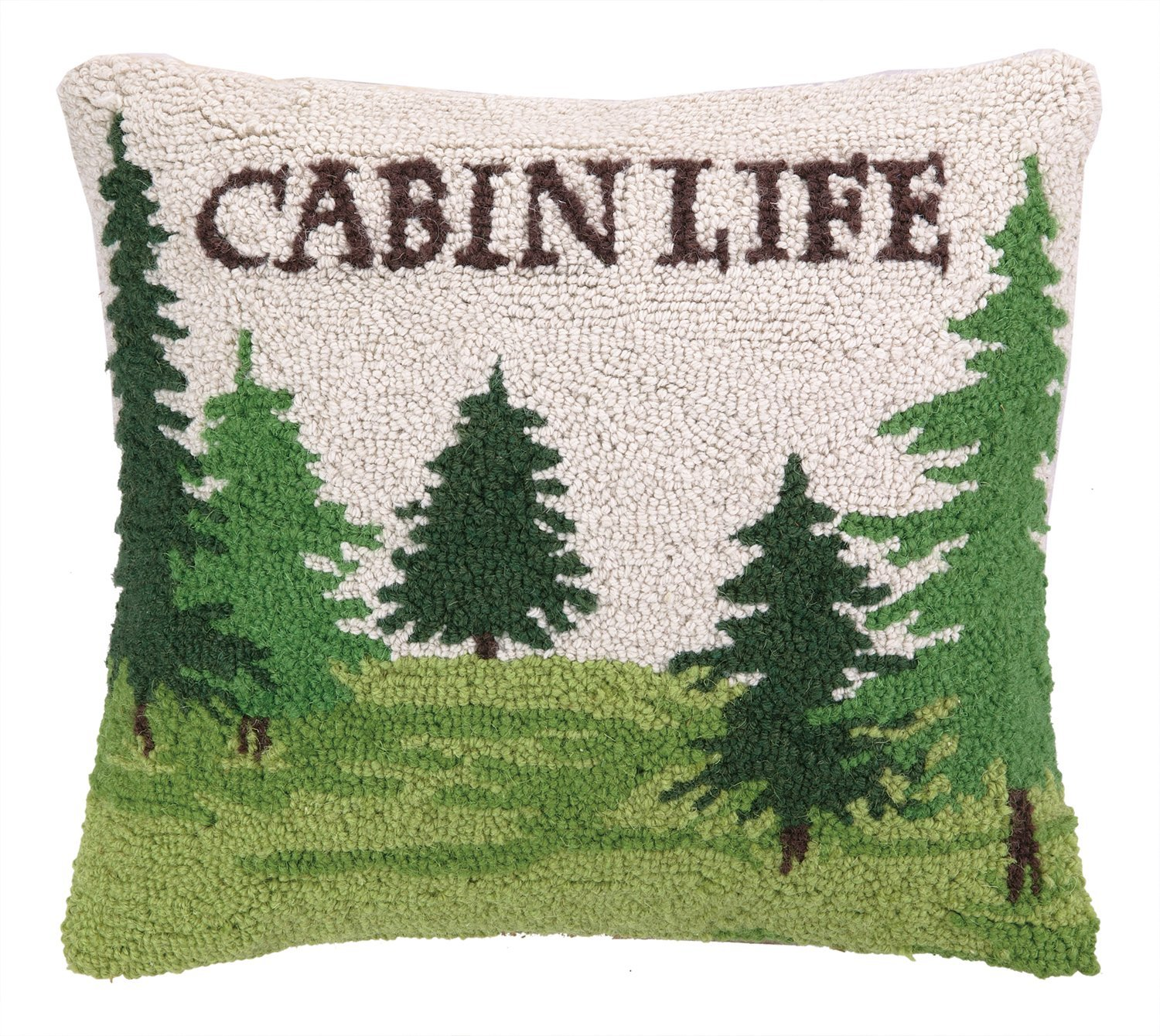 Peking Handicraft Cabin Life with Trees Hook Pillow, 14 by 16-Inch, Multicolor