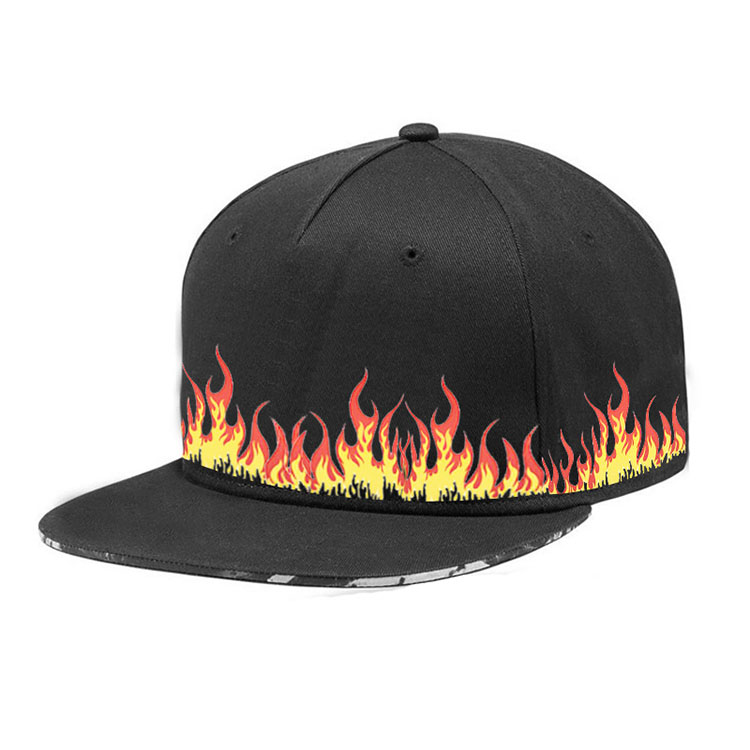 wholesale cotton sandwich visors print flame logo skate 5 panel snapback hats