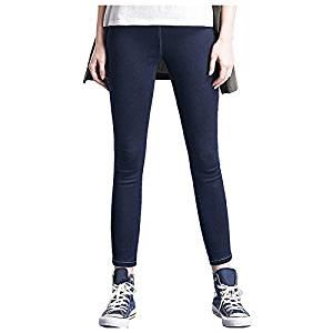 Women Jeans - SODIAL(R)Woman's Fashion Leggings Summer Autumn High Waist Elastic plus Size women Skinny jeans denim pants(Navy blue,4XL/US-12)