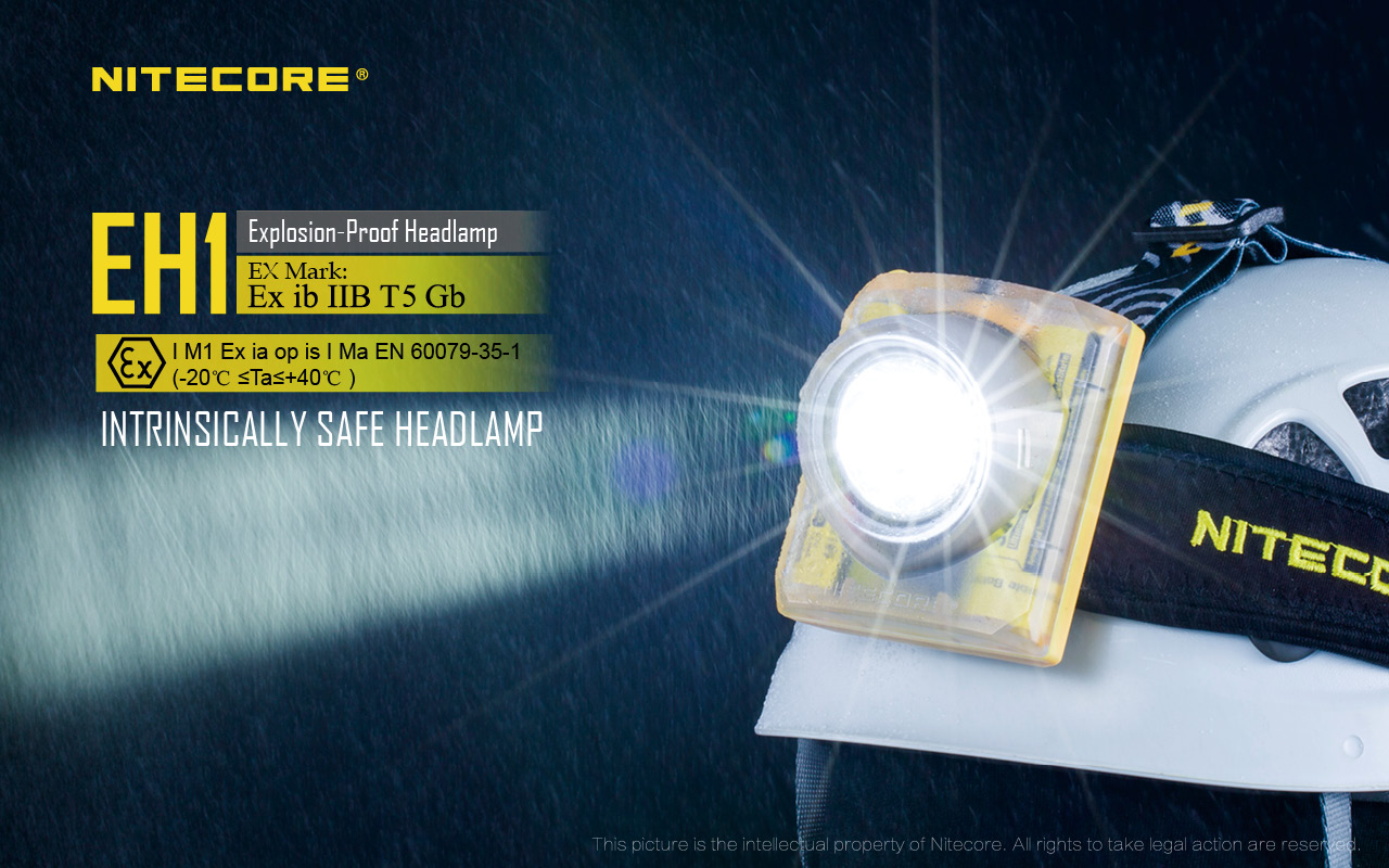 NITECORE EH1 260 lumens IP68 ATEX explosion proof led cordless mining headlamp