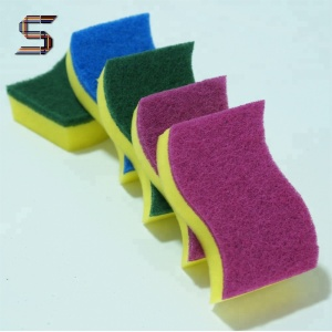 China Factory Kitchen Use Cleaning Nylon Polyester Scouring Pad Sponge