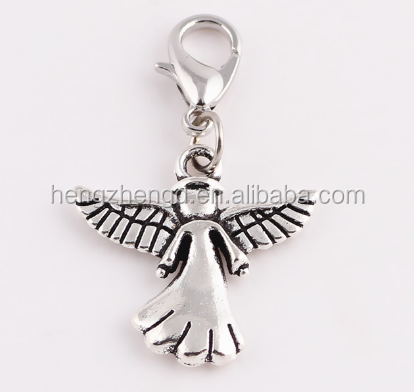 Hot selling cheap angel dangle charm pendant with lobster clasp for jewelry making