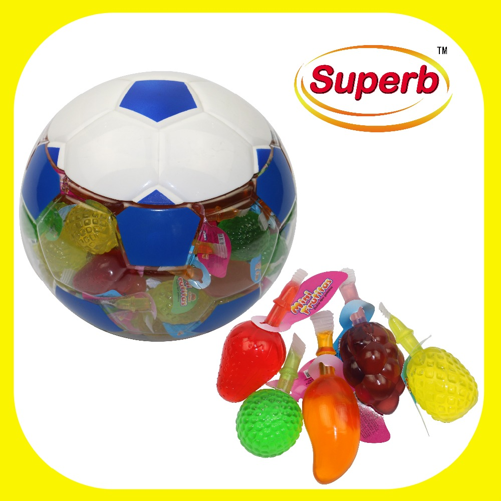 Halal jelly sweets diverse fruit jelly bean snoep in voetbal vorm jar