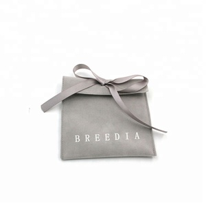 Custom printed envelope suede jewelry pouches with ribbon