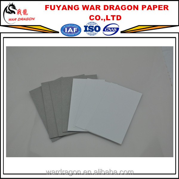 WAR DRAGON AA grade 250gsm, 300gsm, 350gsm Duplex board grey Back for paper bag and gift box