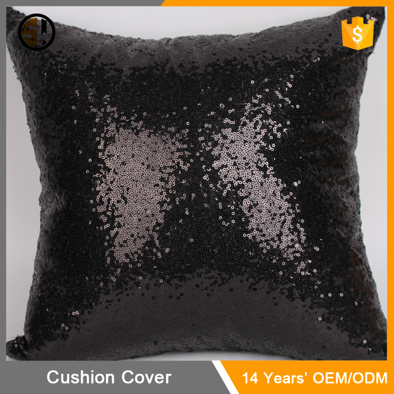 Factory Directly Black Comfy Glitzy Sequins Cushion Pillow Cover Solid Satin Glitter Throw Pillow Case Cafe Decor