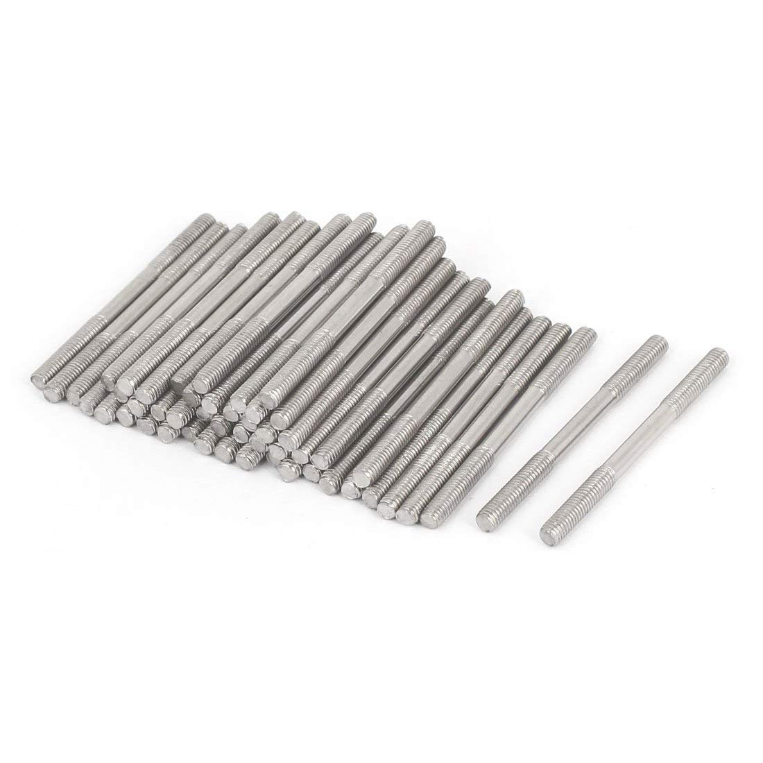 uxcell M3x40mm 304 Stainless Steel Double End Threaded Stud Screw Bolt 50pcs