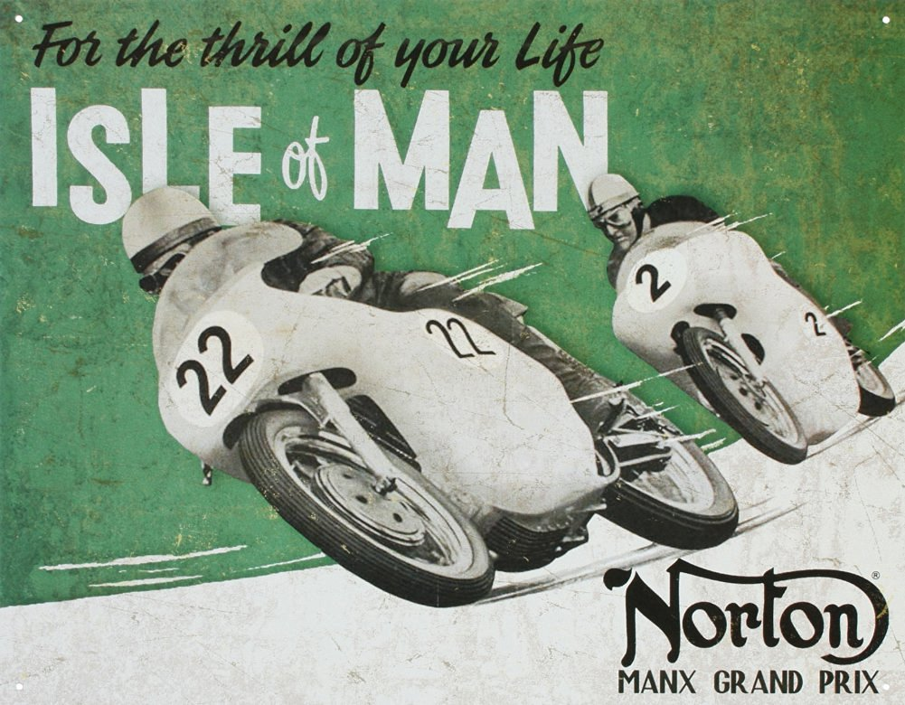 Norton Manx Grand Prix Isle of Man Motorcycle Racing Tin Sign Tin Sign , 16x13