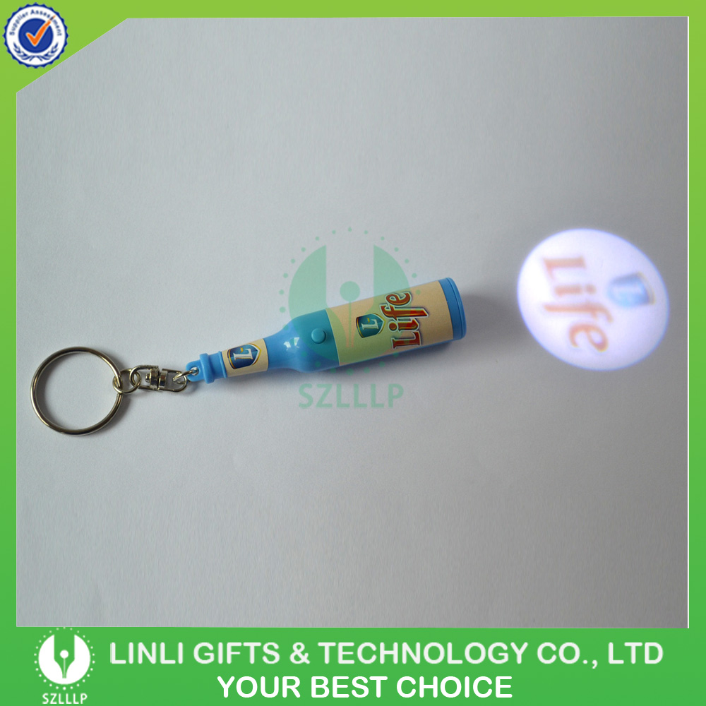 Custom Beer Shaped Led Projector Keychain Logo Projection Key holder