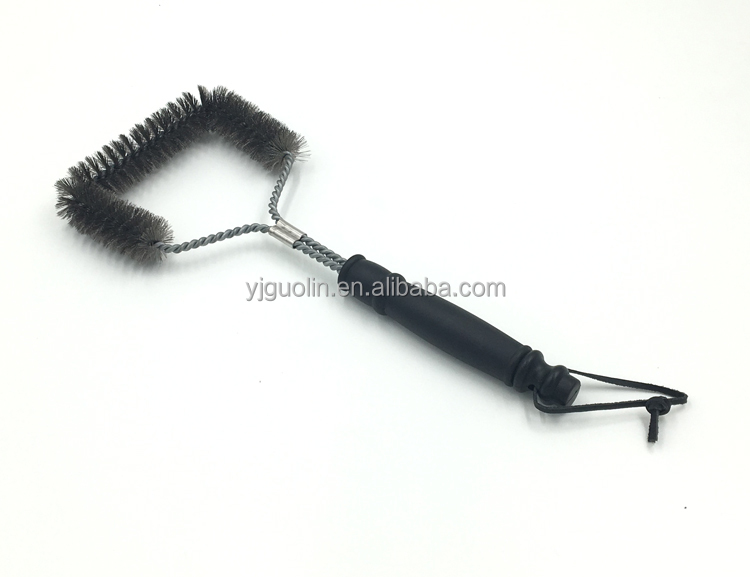 Wholesale steel bristles bbq grill brush with plastic handle