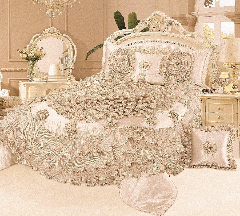 cream piece wedding com set dp in comforter home queen kitchen royal tache quilt chamber faux satin amazon
