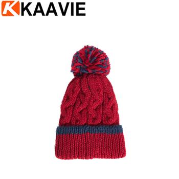 Custom Girls Winter Cable Knitted Pom Pom Hat Buy Winter Ski Pom