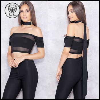 13e344029e3ab New design fashion off shoulder choker top black mesh crop top with  transparent detail