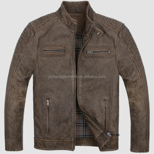 men's fashion cow skin motorcycle leather jacket