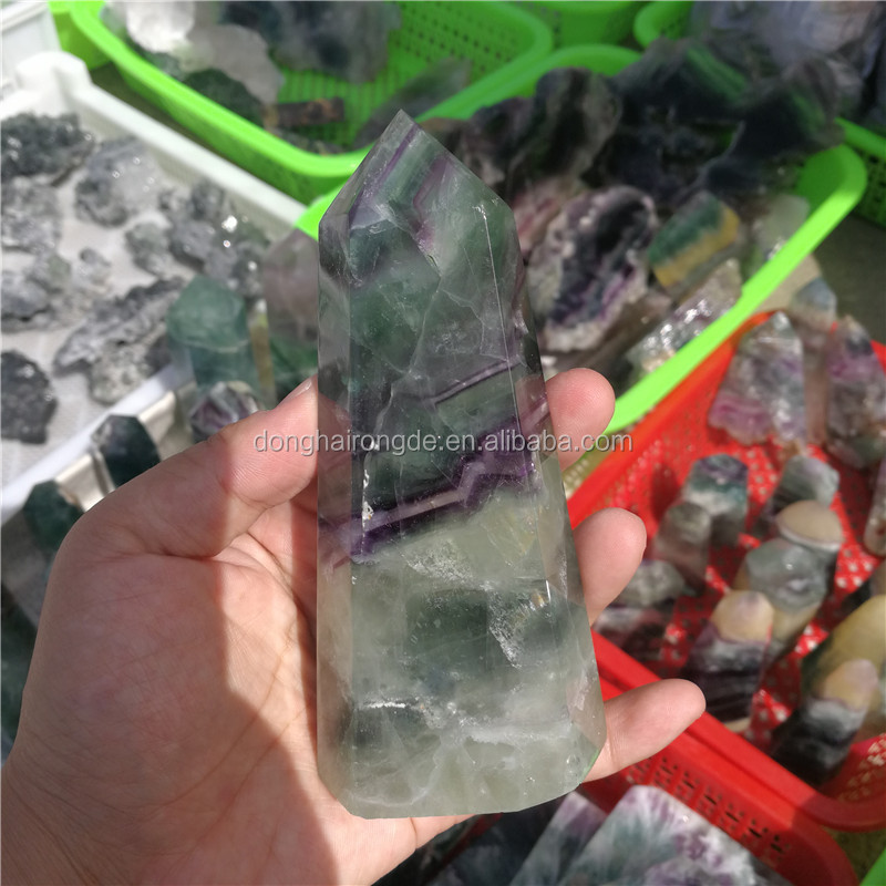 wholesale crystals healing stones natural large fluorite quartz points for home decoration